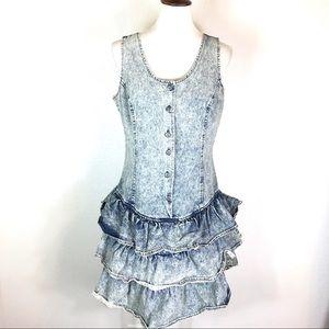 Vintage 80s 90s drop waist denim dress
